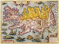 Map of Iceland by Abraham Ortelius (c. 1590)