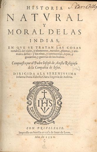 José de Acosta - Title page of Historia natural y moral