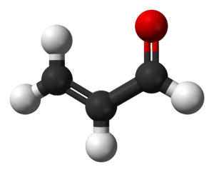 Ball-and-stick model of the acrolein molecule