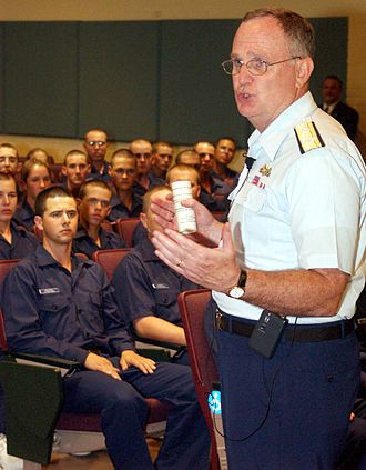 Thomas H. Collins - Collins orating before an audience of U.S. Coast Guard recruits at Recruit Training Center Cape May in June 2004