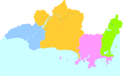 Yazhou is the westernmost division on this map of Sanya