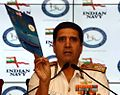 Admiral RK Dhowan addressing national media at the International Fleet Review 2016.JPG