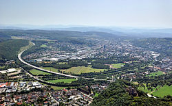 Aerial view at Lörrach frae the north