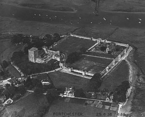 Portus Adurni - Photograph of Portchester Castle in June 1938 by Major George Allen (1891–1940). The perimeter walls survive from the Roman period.