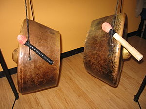 Agung - The agung. The left gong is the pangandungan, used for basic beats. The right gong is the panentekan, which complements the pangandungan.