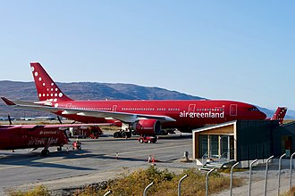 Air Greenland operates passenger and cargo freight services by air from, to and across Greenland. Air Greenland A330-200 OY-GRN (Quintin Soloviev).jpg