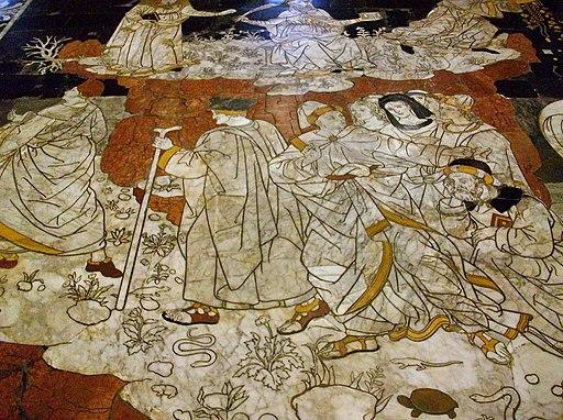 Pinturicchio, Allegoria del colle della Sapienza (particolare), Pavimento Duomo di Siena, Sien