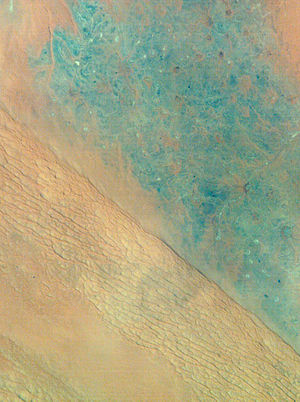 Ad-Dahna Desert - Satellite view of Al-Dahna desert.