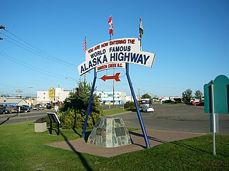 Alaska Highway - A monument at the southern terminus of the Alaska Highway (Dawson Creek)