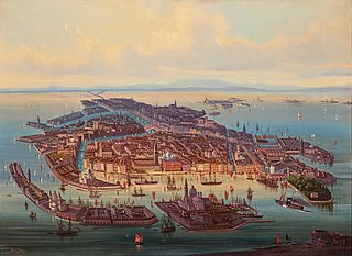 A panoramic view of Venice