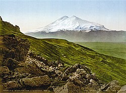 19th-century postcard of Mount Elbrus in the Caucasus Mountains