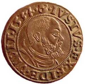 Albert, Duke of Prussia - One Groschen coin, 1534, Iustus ex fide vivit — The Just lives on Faith