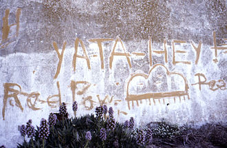 "Occupation of Alcatraz - Graffiti from the occupation, featuring a Navajo greeting, ""Yata Hey"""
