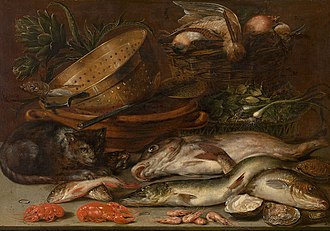 Alexander Adriaenssen - Fruits, dead birds and fish, touched by a cat