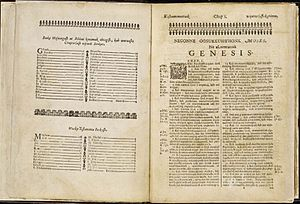 Massachusett - The index and first page of Genesis from Eliot's translation of the Bible into the Natick speech of Massachusett in 1663, the Mamusse Wunneetupanatamwe Up-Biblum God.