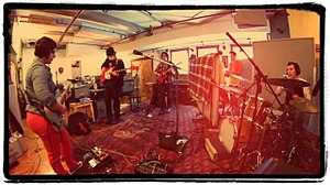 Aloud - Aloud recording It's Got To Be Now at Mad Oak Studios. The majority of the album was recorded live in this configuration.