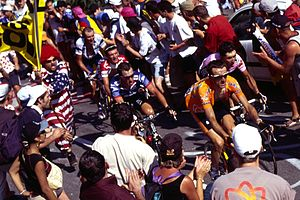2003 Tour de France - Laiseka, Basso, Hamilton, Armstrong, Beloki and Zubeldia riding up to Alpe d'Huez on the eighth stage