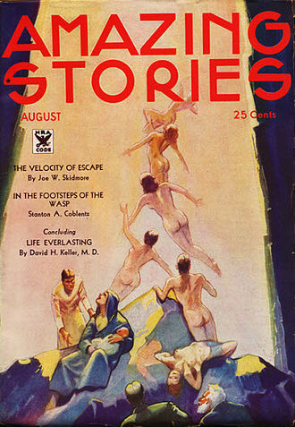 """David H. Keller - The conclusion of Keller's two-part """"Life Everlasting"""" was cover-featured on the August 1934 issue of Amazing Stories"""