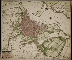 History of Amsterdam - Amsterdam and surroundings around 1770. The expansion has come to a standstill.