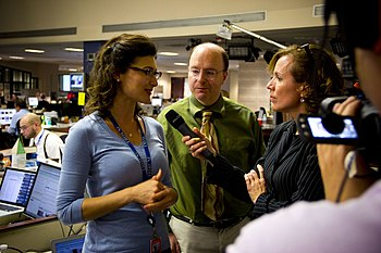 Amy Guth and Scott Kleinberg talk w Jenniffer Weigel on election night (8167791417).jpg