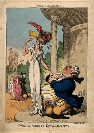 "Thomas Tegg - ""Dropsy Courting Consumption"", published October 25, 1810 in Tegg's Carricatures n° 45, printed at 111 Cheapside"