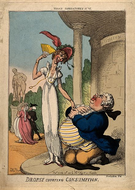 """Dropsy Courting Consumption"", published October 25, 1810 in Tegg's Carricatures ndeg 45, printed at 111 Cheapside An obese man wooing a tall lean woman outside a mausoleum; r Wellcome V0010871.jpg"
