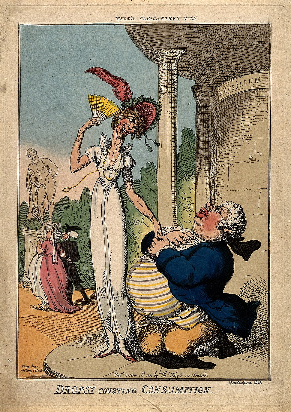 An obese man wooing a tall lean woman outside a mausoleum; r Wellcome V0010871