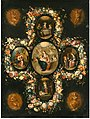 Andries Daniels and Frans Francken (II) - The Virgin and Child with Scenes from the Life of Christ, in painted ovals surrounded by a Garland of Flowers with music-making Angels en brunaille.jpg