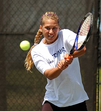 Anna Kournikova - Kournikova practices her backhand for a match at the Family Circle Cup in Charleston, South Carolina