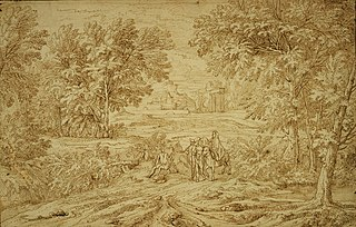 Flight of the Holy Family in an Italianate landscape