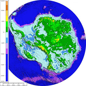 West Antarctic Ice Sheet - A topographic and bathymetric map of Antarctica without its ice sheets, assuming constant sea levels and no post-glacial rebound