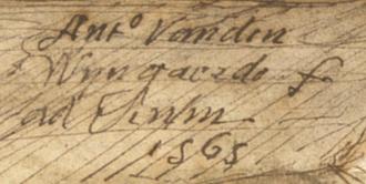 Anton van den Wyngaerde - Signature of Anton van der Wyngaerde (1565).