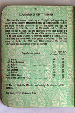 "Griqua people - ""Griqua"" listed as a separate ethnicity from ""Cape Coloured"" and ""Other Coloured"" on an apartheid-era identity document."