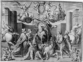 Charles Audran - Apotheosis of Sigismund III Vasa, king  of Poland, after victory at Chocim, engraving from 1629.