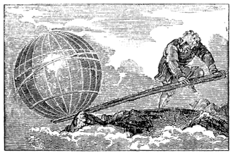 "Earth mass - 19th-century illustration of Archimedes' quip of ""give me a place to stand on, and I will move the earth"""