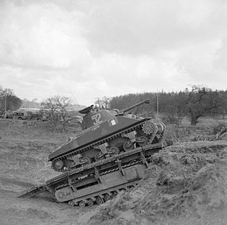 Tanks of the U.S. in the World Wars - Sherman tank using a Churchill 'Ark' armored ramp carrier