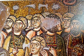 Nea Moni of Chios - Arrest of Jesus mosaic (11th)