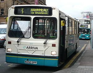 Wright Handybus - Arriva Scotland West's Handybus bodied Dennis Dart in Glasgow in April 2008 with raked driver's windscreen