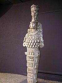 Прообраз Артемида Эфесская. центральная часть колье - это пирамида с глазом.  А острые бронзовые элементы и бисер под...