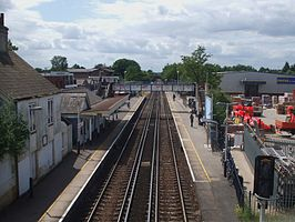 Ashford (Surrey) station high westbound from roadbridge.JPG