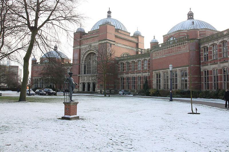 Aston Webb buildings in snow, The University of Birmingham