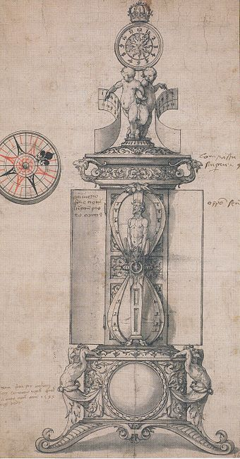 Design for Anthony Denny's Clocksalt, 1543. Pen and black ink on paper with grey wash, and red wash on the compass, British Museum, London. Astronomical clock, design by Hans Holbein the Younger.jpg