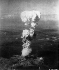 Mushroom cloud resulting from atomic bomb dropped on Hiroshima 6 August 1945<br />Source: https://commons.wikimedia.org/wiki/File:Atomic_cloud_over_Hiroshima.jpg 203px-Atomic_cloud_over_Hiroshima.jpg