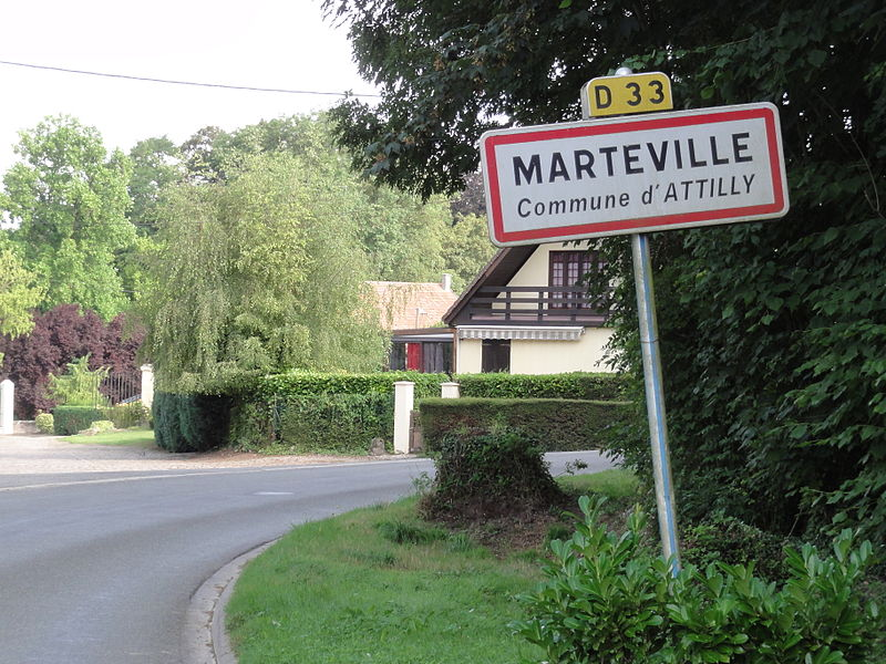 Attilly (Aisne) city limit sign Marteville
