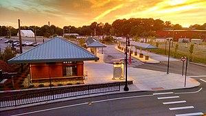 Attleboro station (Massachusetts) - Attleboro Intermodal Transportation Center viewed from the southbound MBTA platforms