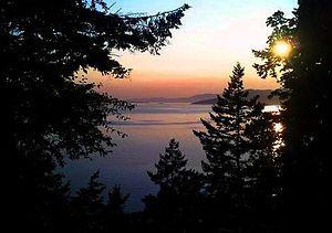 Washington State Route 11 - Sunset on Samish Bay from Chuckanut Drive