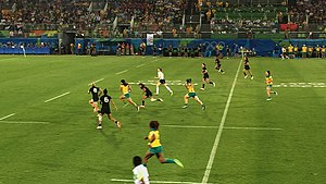 Australia women's national rugby sevens team - Australia with possession during the women's final at the 2016 Olympic Sevens.
