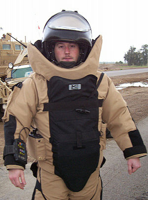 Advanced Bomb Suit - An EOD team leader wearing an Advanced Bomb Suit.