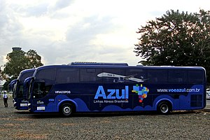 Azul Brazilian Airlines - A bus fleet provides free feeder services between selected cities and airports.