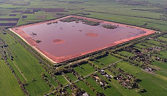 Bauxite tailings - Red mud near Stade (Germany)